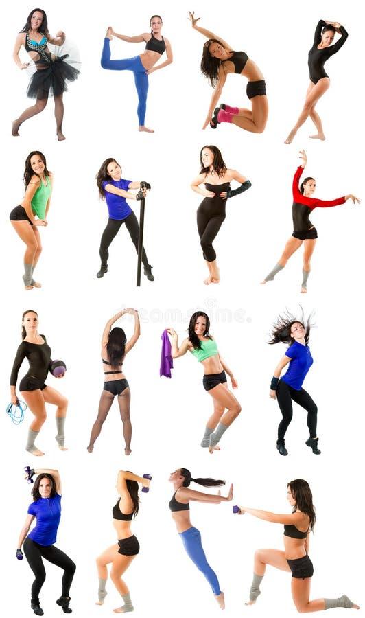 Ung kvinna som övar collage - yoga, kondition, pilates, aerobics på isolerat royaltyfria bilder