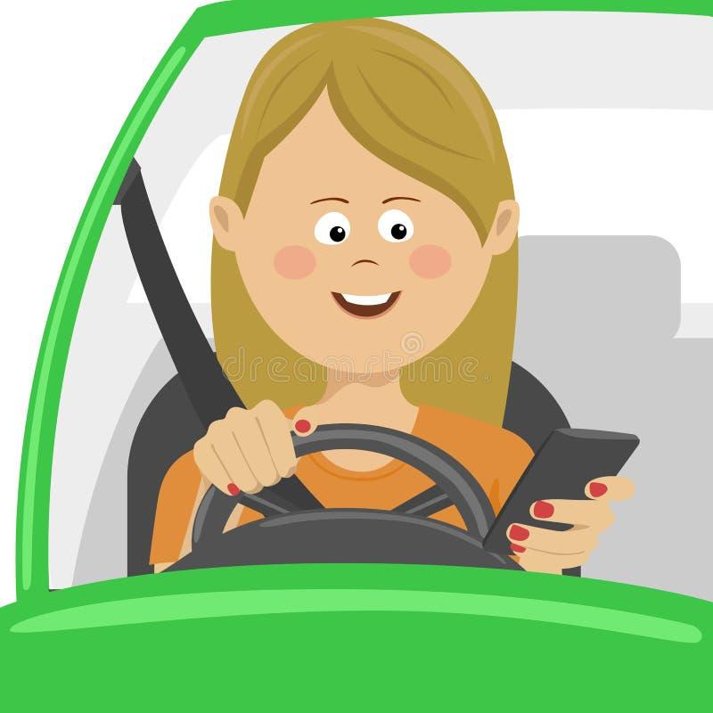 Ung kvinna som använder hennes smartphone bak hjulet Begrepp för problemböjelsefara stock illustrationer