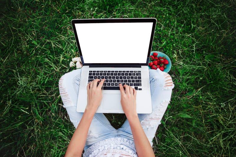 Ung kvinna som använder och skriver bärbar datordatoren i sommargräs Freelanceren som arbetar i utomhus-, parkerar royaltyfria foton