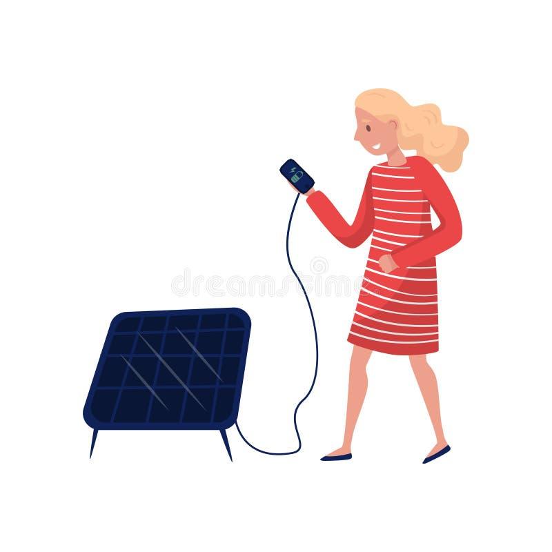 Ung kvinna som använder solpanelen, vänligt folkbegrepp för eco, skydd och bevarande av miljövektorn royaltyfri illustrationer