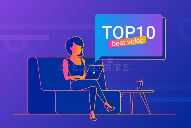Ung kvinna som arbetar med den hemmastadda bärbara datorn stock illustrationer