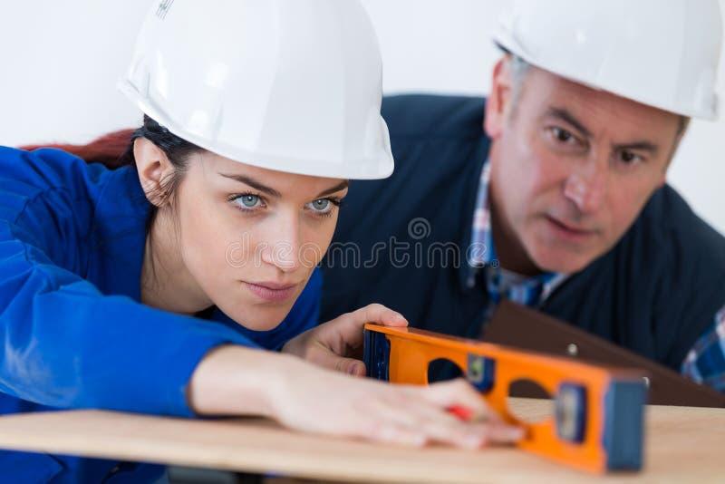 Ung kvinna som arbetar med nivån royaltyfria foton