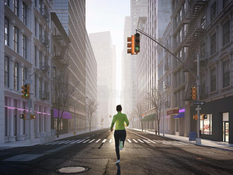 Ung kvinna som bara joggar i gatorna av staden framförande 3d royaltyfri foto