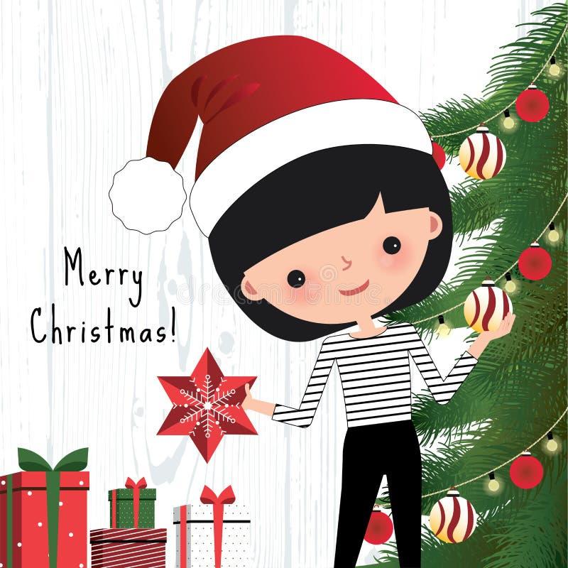 Ung kvinna som dekorerar julträdet stock illustrationer