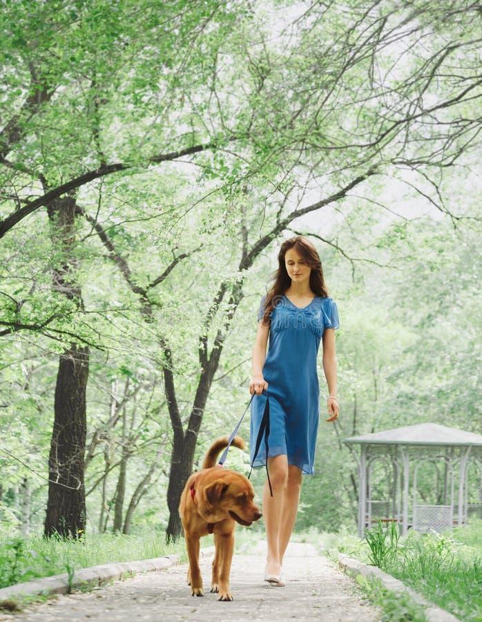 Ung kvinna som går med en hund arkivfoto