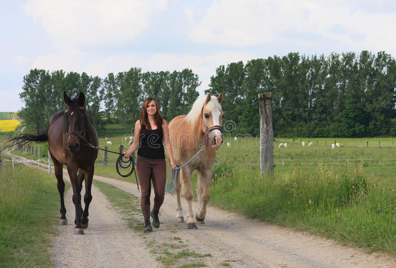 Ung kvinna som går med två hästar royaltyfri bild
