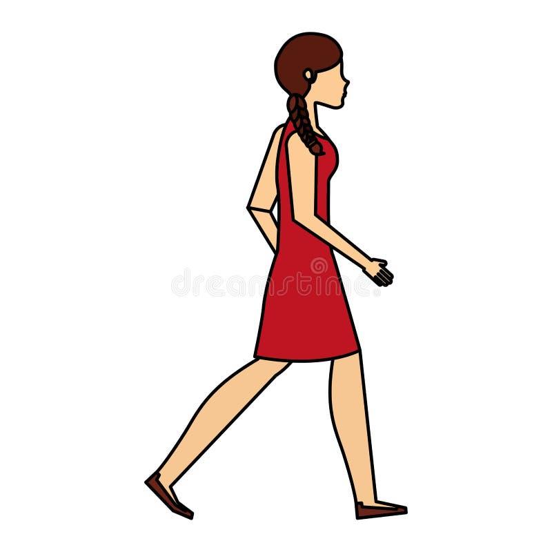 Ung kvinna som går teckenet royaltyfri illustrationer