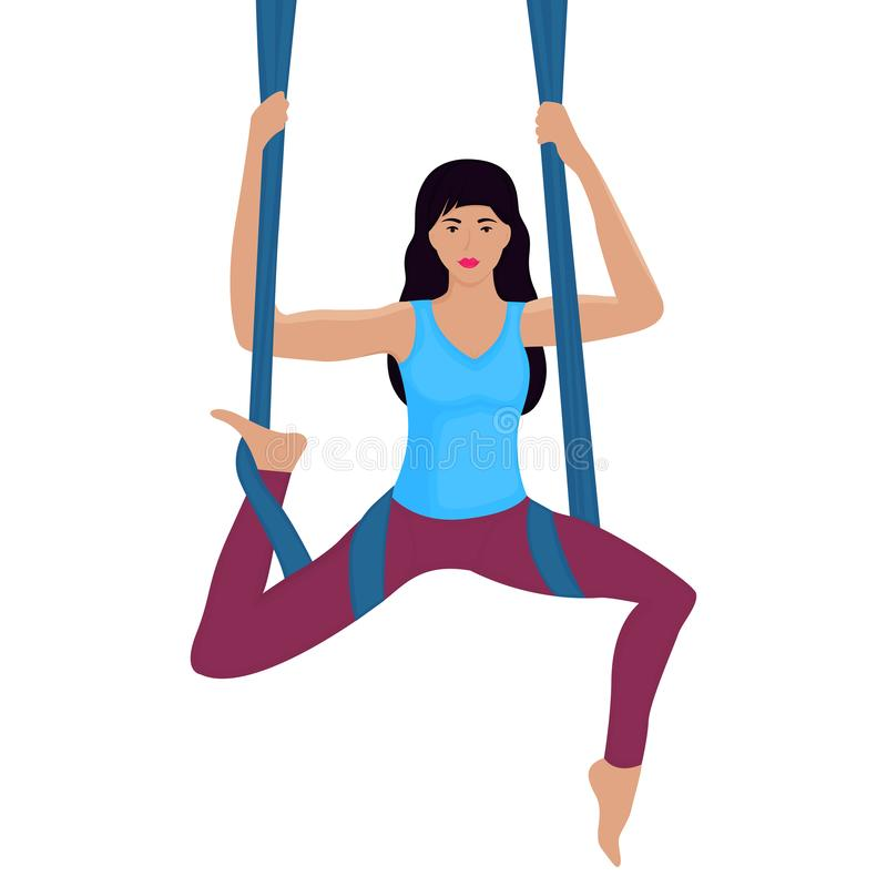 Ung kvinna som gör övning med hängmattavektorillustrationen Flyg- yoga vektor illustrationer
