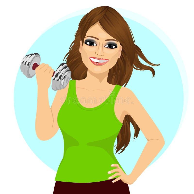 Ung kvinna som gör en konditiongenomkörare med hanteln stock illustrationer