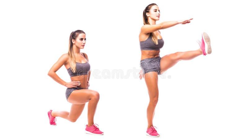 Ung kvinna som gör sportövning arkivbild