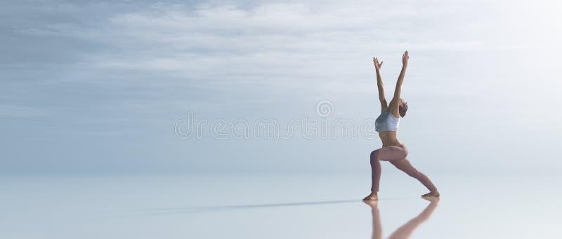 Ung kvinna som gör utomhus- yoga vektor illustrationer