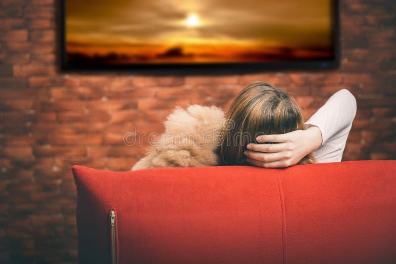 Ung kvinna som håller ögonen på smart TV arkivfoton