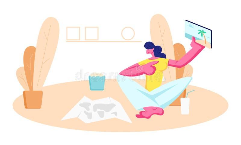 Ung kvinna som hemma som sitter på golv med den pappers- översikten, drinken och popcorn visar till minnestavlan med bilder från  vektor illustrationer