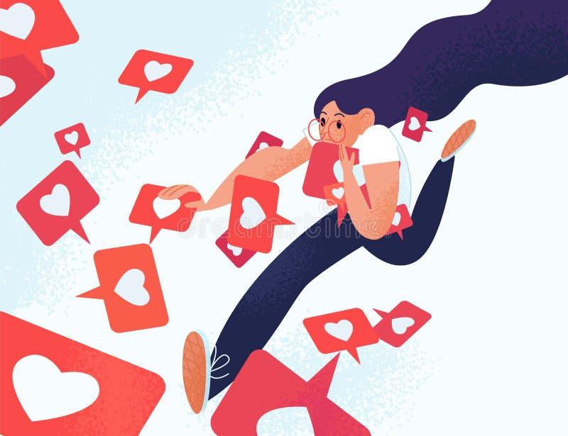 Ung kvinna som kör och griper som meddelanden Flicka som missbrukas till socialt massmedia och online-återkoppling Böjelse till stock illustrationer