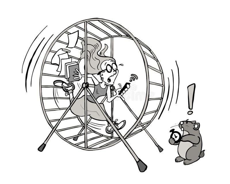 Ung kvinna som kör ut ur tid i hennes hamsterhjuljobb i svartvitt royaltyfri illustrationer