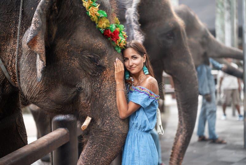 Ung kvinna som kramar huvudet av en elefant fotografering för bildbyråer