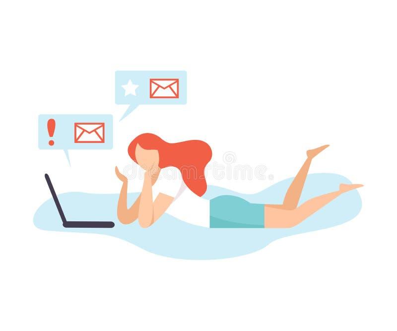Ung kvinna som meddelar genom att använda bärbara datorn, flicka som pratar, daterar eller söker för information, social knyta ko vektor illustrationer