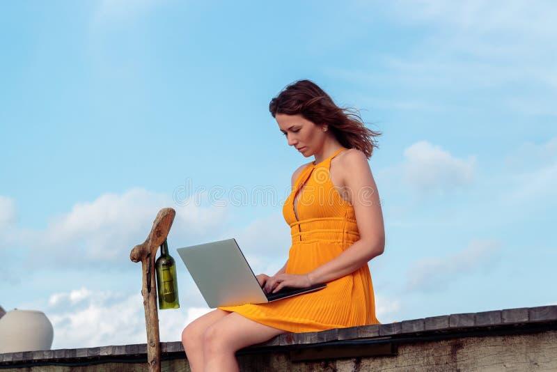 Ung kvinna som placeras p? en pir och att arbeta med hans b?rbar dator Bl?ttsky som bakgrund arkivfoton