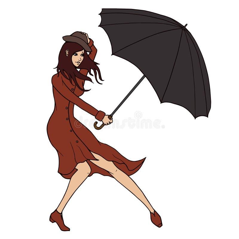 Ung kvinna som rymmer ett paraply mot vinden vektor illustrationer