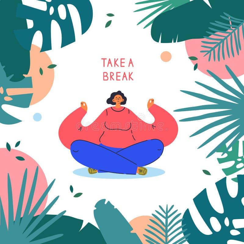 Ung kvinna som sitter i asana Ta en brytningstext vektor illustrationer