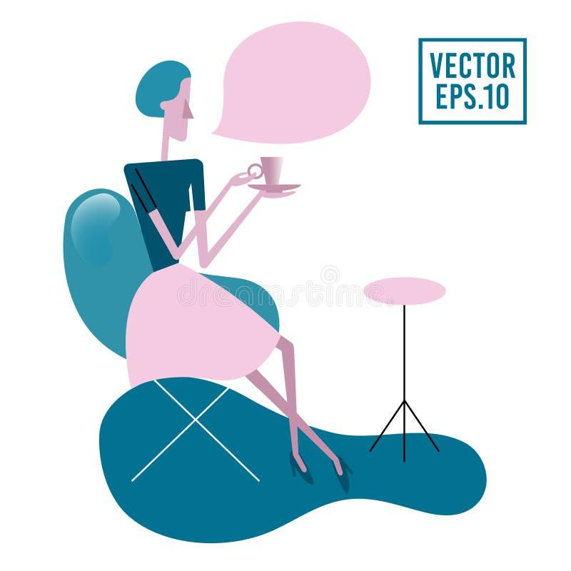 Ung kvinna som sitter på tabellen och att dricka te eller kaffe roligt tecknad filmtecken Flicka som spenderar tid med te eller k royaltyfri illustrationer