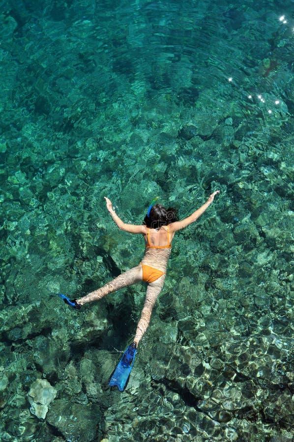 Ung kvinna som snorklar i Bonaire som är karibisk royaltyfria bilder