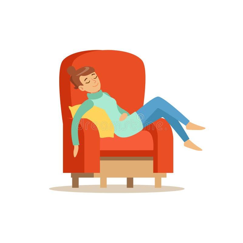 Ung kvinna som sover på den röda fåtöljen, avslappnande personvektorillustration vektor illustrationer