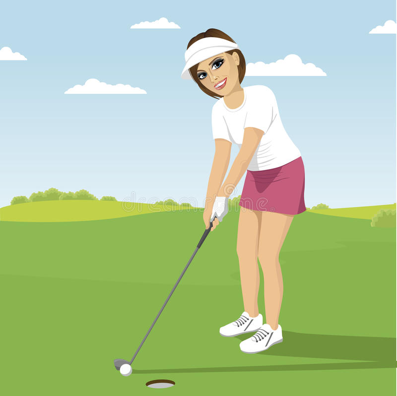 Ung kvinna som spelar golf som förbereder sig till skottet som sätter på grön kurs stock illustrationer