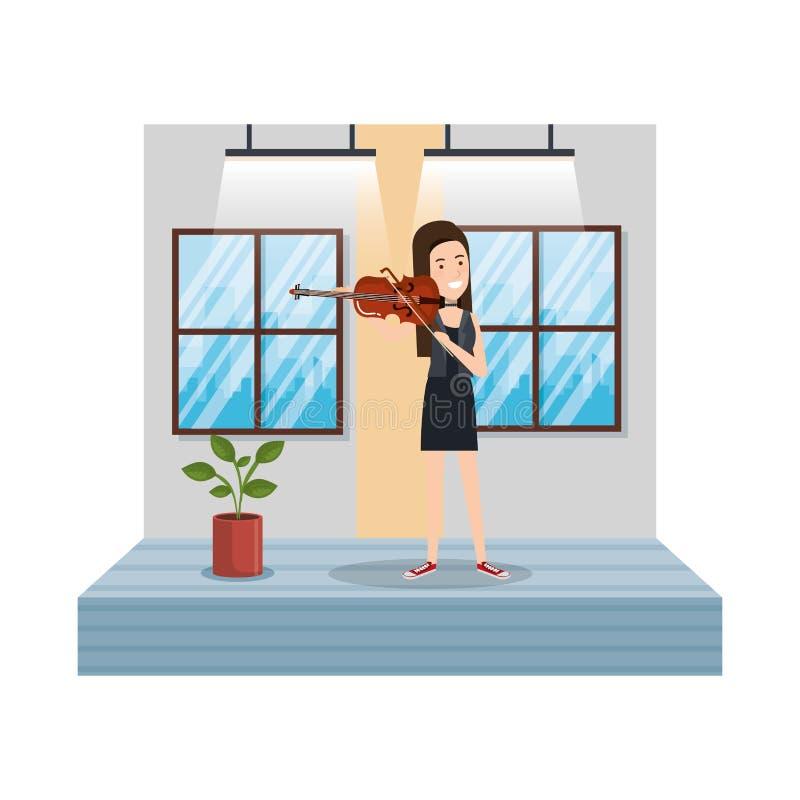 Ung kvinna som spelar lurendrejeri i huset stock illustrationer