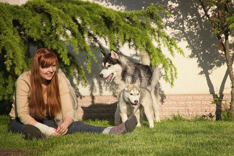 Ung kvinna som spelar med hundkapplöpningen royaltyfria foton