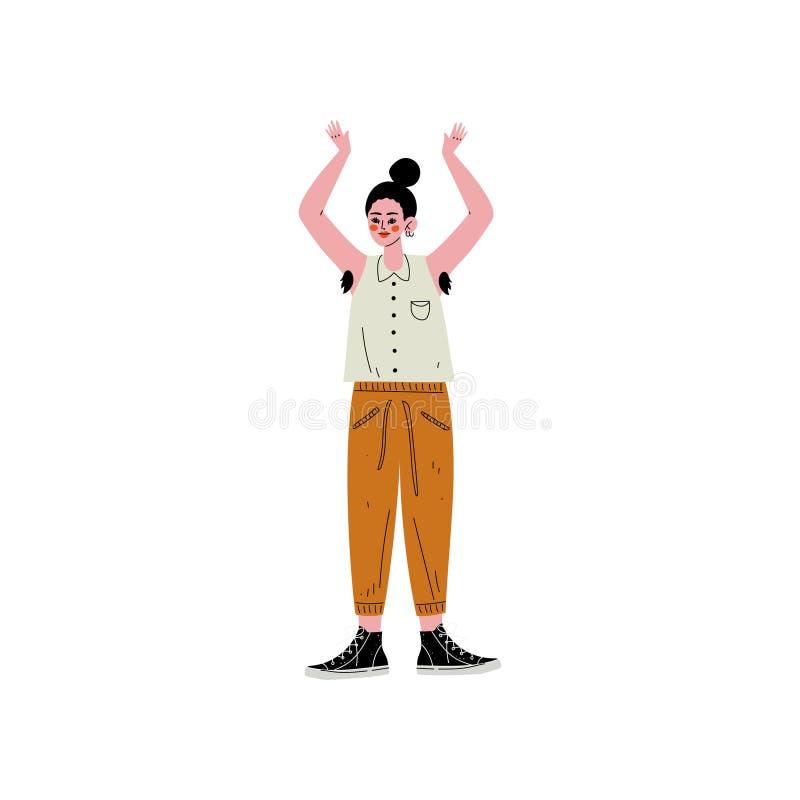 Ung kvinna som står med hennes arm som lyfts för att visa hår i hennes armhålor, kvinnligt tecken som älskar hennes kropp, självg royaltyfri illustrationer