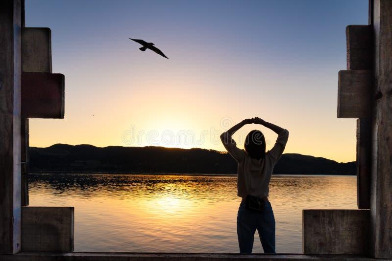 Ung kvinna som sträcker armar under soluppgången på sjön med träinrama arkivbilder
