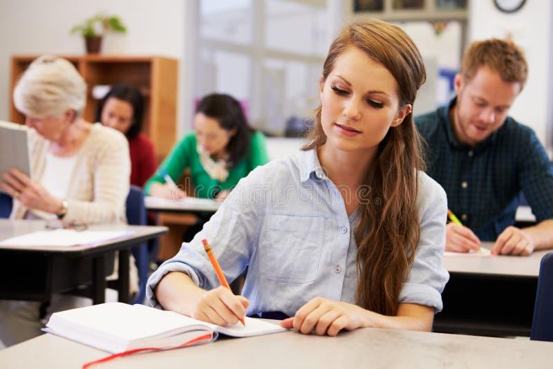 Ung kvinna som studerar på en vuxenutbildninggrupp arkivbilder