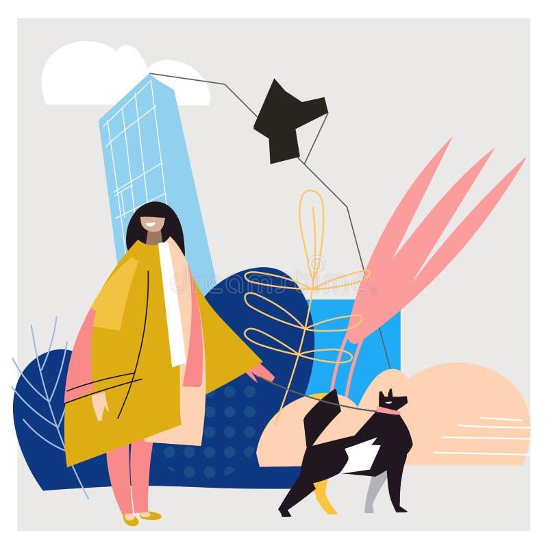 Ung kvinna som vaknar med hunden Vektorillustration i modern plan stil royaltyfri illustrationer