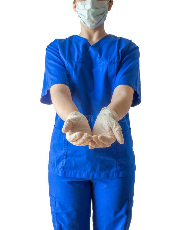 Ung kvinnlig doktor i öppna händer för blå medicinsk visning med ster arkivbild