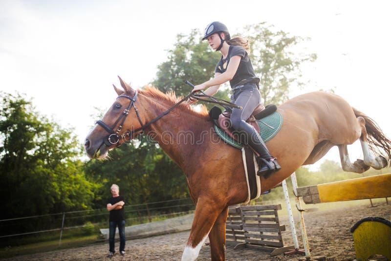 Ung kvinnlig jockey på hästen som hoppar över häck fotografering för bildbyråer