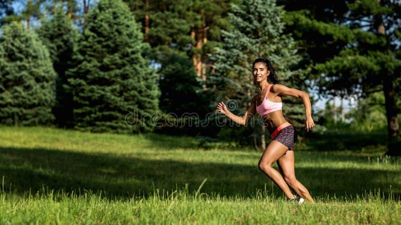 Ung kvinnlig l?pare som joggar under utomhus- genomk?rare i en parkera H?rlig passformflicka isolerad kvinna f?r white f?r vikt f arkivfoto