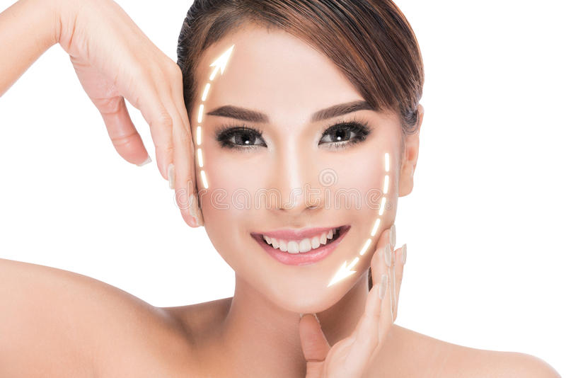 Ung kvinnlig med ren ny hud royaltyfria foton