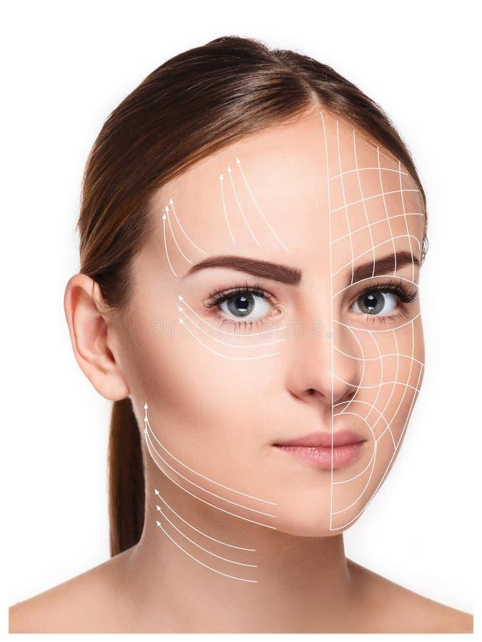 Ung kvinnlig med ren ny hud arkivfoto
