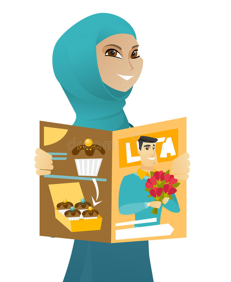 Ung läs- tidskrift för muslimaffärskvinna vektor illustrationer