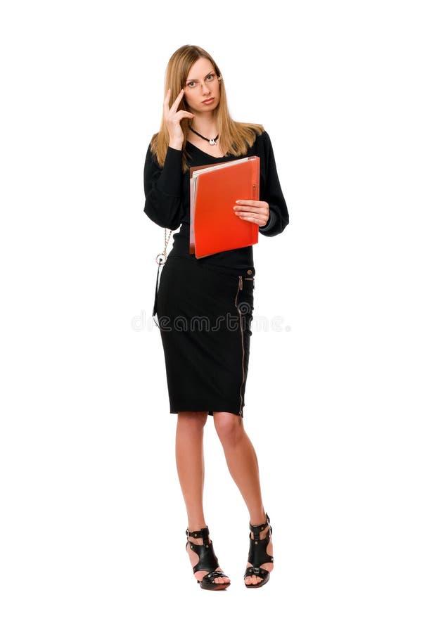 Ung lady med mappen royaltyfri fotografi