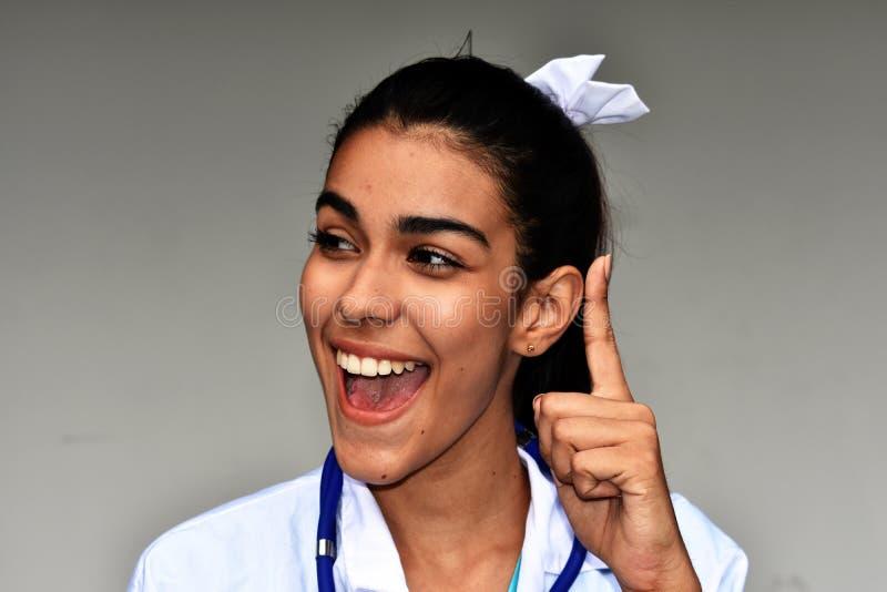 Ung latinamerikansk kvinnlig doktor Having An Idea royaltyfria bilder