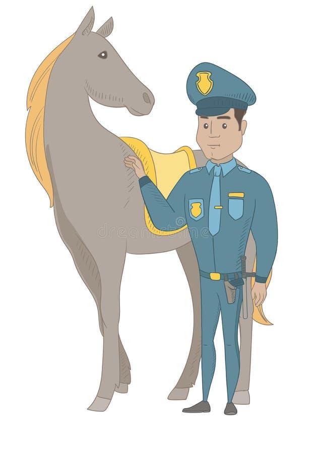 Ung latinamerikansk polis och häst royaltyfri illustrationer