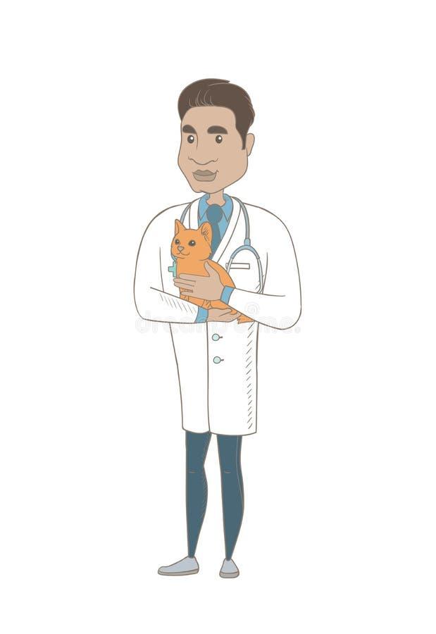 Ung latinamerikansk veterinär med katten i händer royaltyfri illustrationer