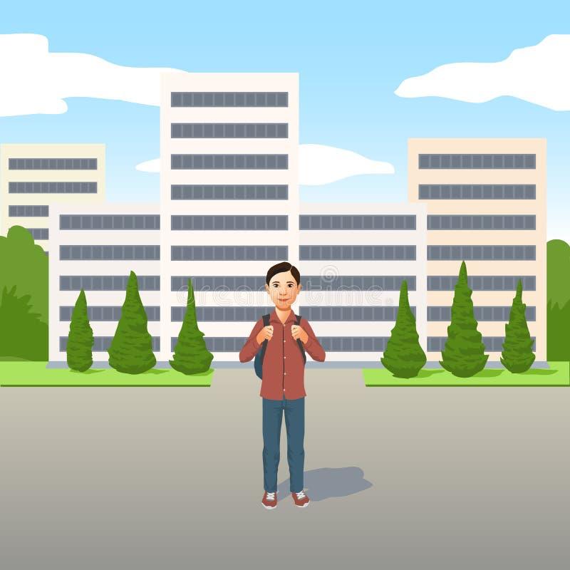 Ung Latino pojke med skolapåsen eller ryggsäck som utomhus står i vägen stock illustrationer