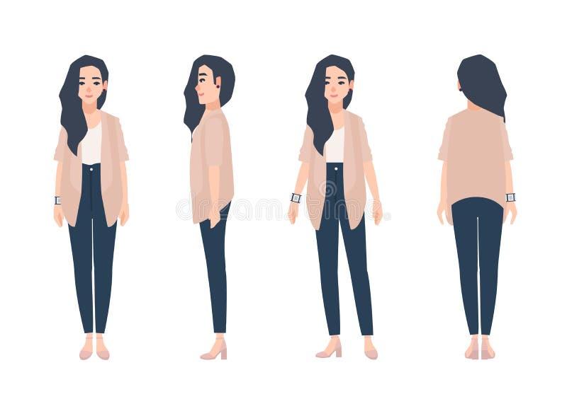 Ung le kvinna med iklädda tillfälliga kläder för löst långt brunetthår som isoleras på vit bakgrund gullig flicka vektor illustrationer