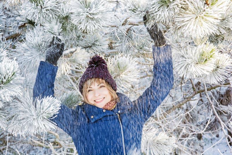Ung le kvinna under det snöig barrträdet, vinterfash royaltyfri foto