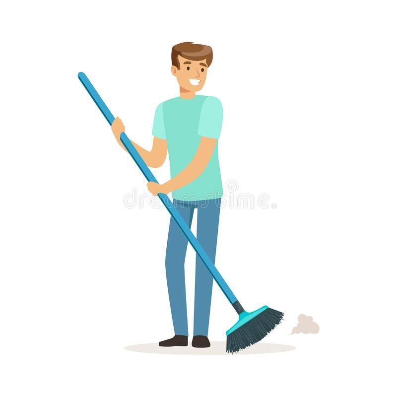 Ung le man som sopar golvet, husmake som arbetar den hemmastadda vektorillustrationen royaltyfri illustrationer