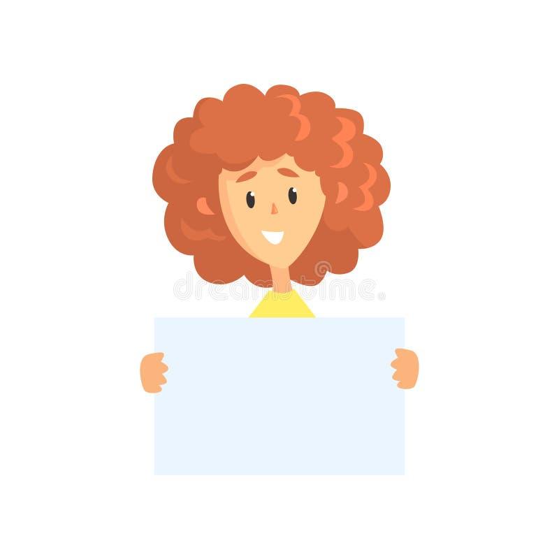 Ung lockig-haired kvinna som rymmer det tomma arket av papper Roligt kvinnligt tecken Affisch med kopieringsutrymme Tecknad filmv vektor illustrationer