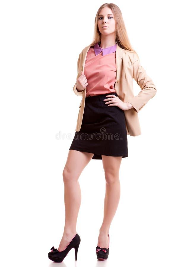 Ung lyckad och härlig affärskvinna arkivbilder